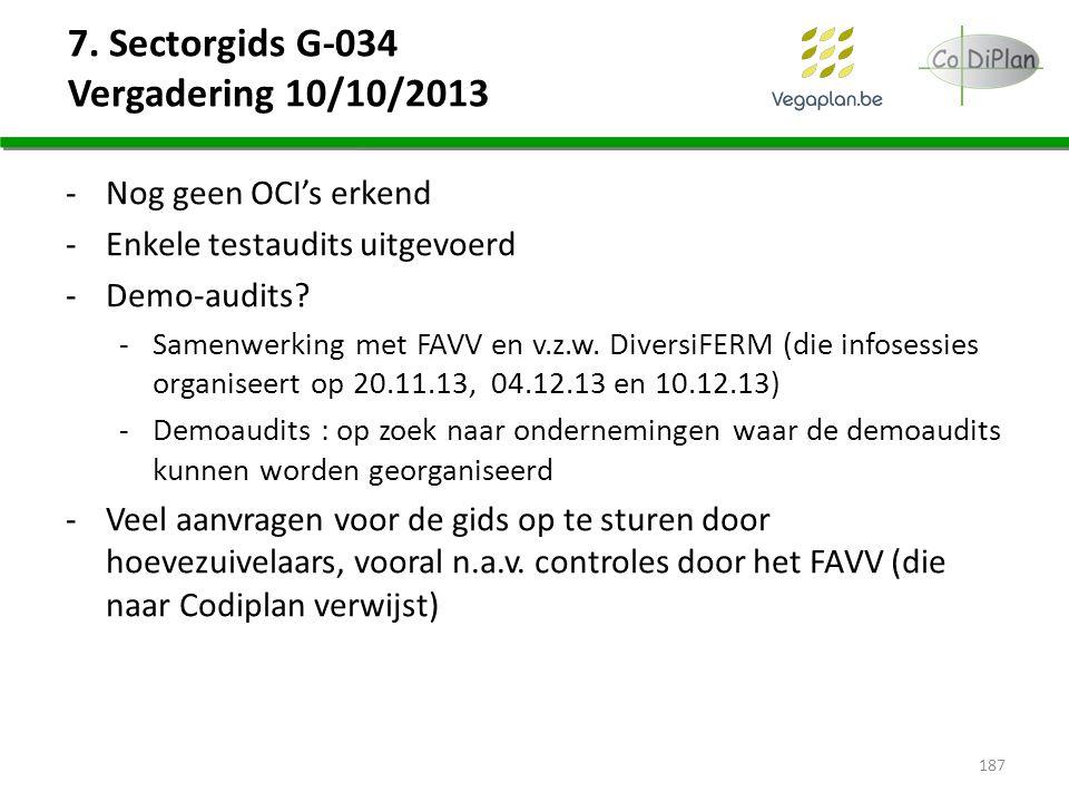 7. Sectorgids G-034 Vergadering 10/10/2013 -Nog geen OCI's erkend -Enkele testaudits uitgevoerd -Demo-audits? -Samenwerking met FAVV en v.z.w. Diversi