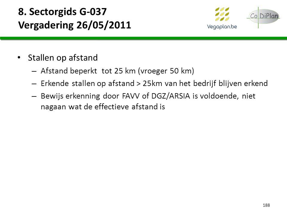 8. Sectorgids G-037 Vergadering 26/05/2011 Stallen op afstand – Afstand beperkt tot 25 km (vroeger 50 km) – Erkende stallen op afstand > 25km van het