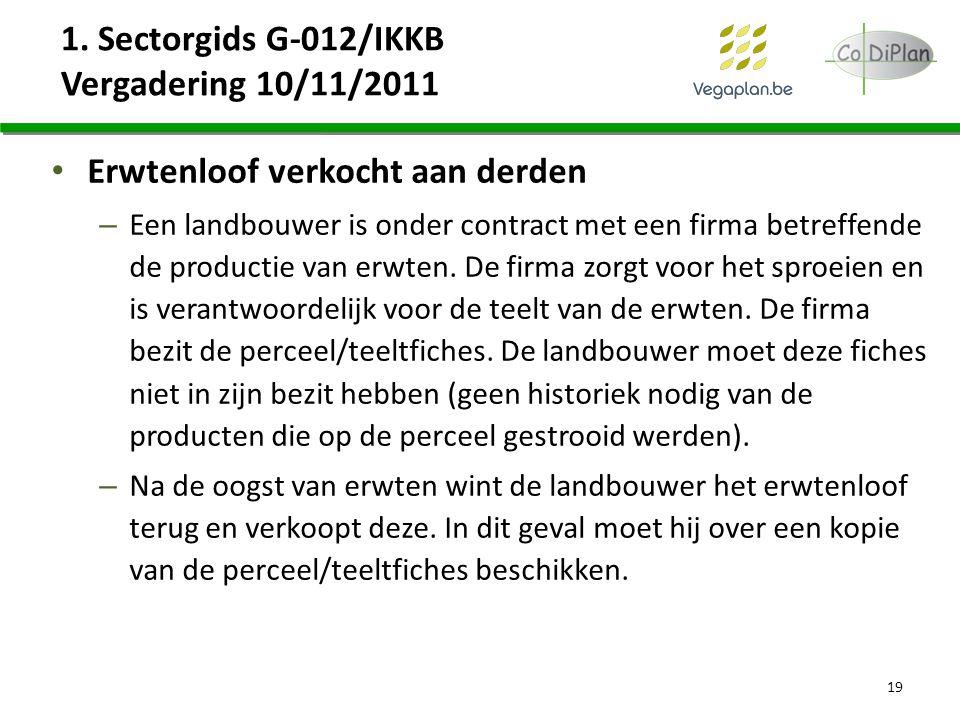 1. Sectorgids G-012/IKKB Vergadering 10/11/2011 Erwtenloof verkocht aan derden – Een landbouwer is onder contract met een firma betreffende de product