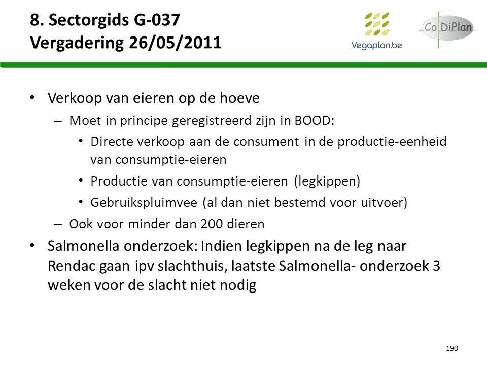 8. Sectorgids G-037 Vergadering 26/05/2011 Verkoop van eieren op de hoeve – Moet in principe geregistreerd zijn in BOOD: Directe verkoop aan de consum
