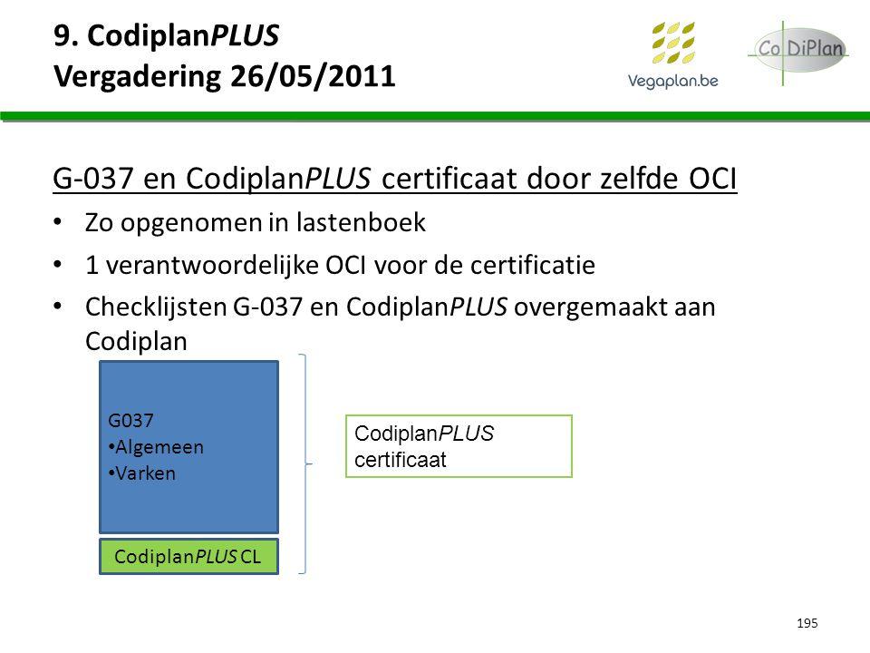 9. CodiplanPLUS Vergadering 26/05/2011 G-037 en CodiplanPLUS certificaat door zelfde OCI Zo opgenomen in lastenboek 1 verantwoordelijke OCI voor de ce