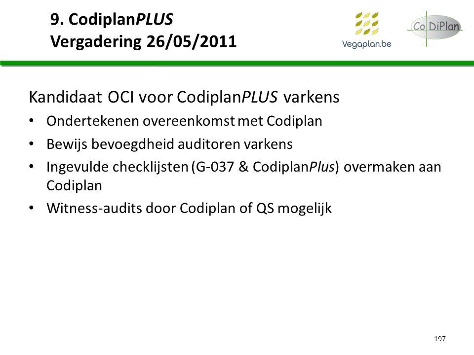 9. CodiplanPLUS Vergadering 26/05/2011 Kandidaat OCI voor CodiplanPLUS varkens Ondertekenen overeenkomst met Codiplan Bewijs bevoegdheid auditoren var
