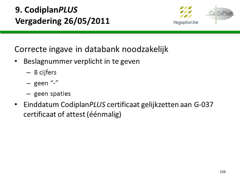"""9. CodiplanPLUS Vergadering 26/05/2011 Correcte ingave in databank noodzakelijk Beslagnummer verplicht in te geven – 8 cijfers – geen """"-"""" – geen spati"""
