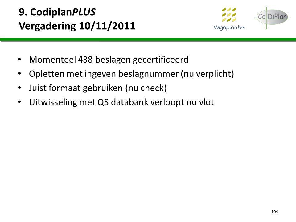 9. CodiplanPLUS Vergadering 10/11/2011 Momenteel 438 beslagen gecertificeerd Opletten met ingeven beslagnummer (nu verplicht) Juist formaat gebruiken