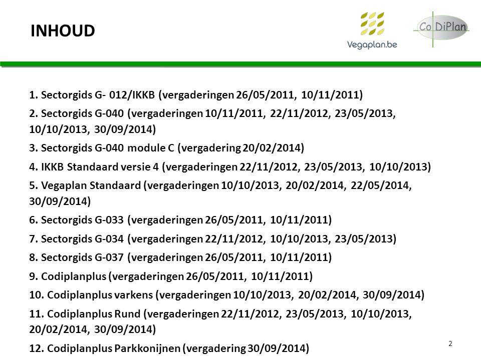 INHOUD 1. Sectorgids G- 012/IKKB (vergaderingen 26/05/2011, 10/11/2011) 2. Sectorgids G-040 (vergaderingen 10/11/2011, 22/11/2012, 23/05/2013, 10/10/2