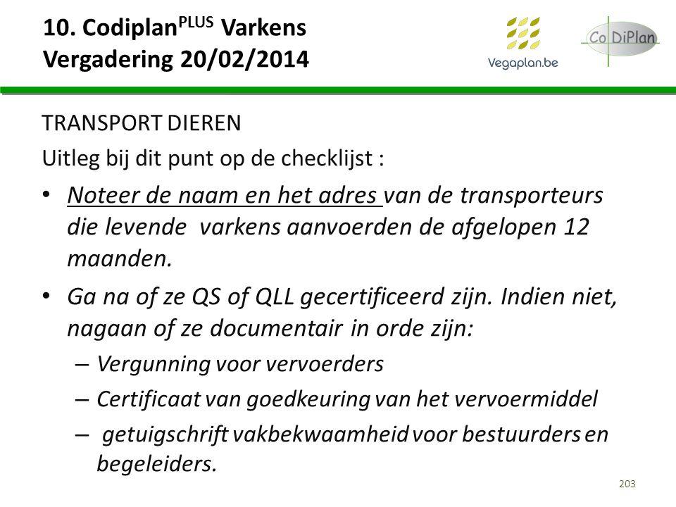 10. Codiplan PLUS Varkens Vergadering 20/02/2014 TRANSPORT DIEREN Uitleg bij dit punt op de checklijst : Noteer de naam en het adres van de transporte