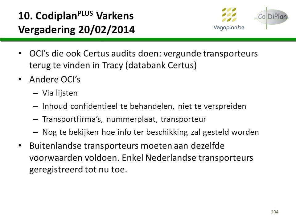 10. Codiplan PLUS Varkens Vergadering 20/02/2014 OCI's die ook Certus audits doen: vergunde transporteurs terug te vinden in Tracy (databank Certus) A