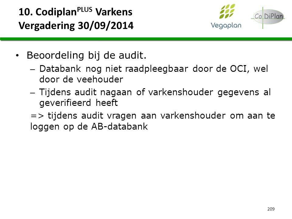 10. Codiplan PLUS Varkens Vergadering 30/09/2014 209 Beoordeling bij de audit. – Databank nog niet raadpleegbaar door de OCI, wel door de veehouder –