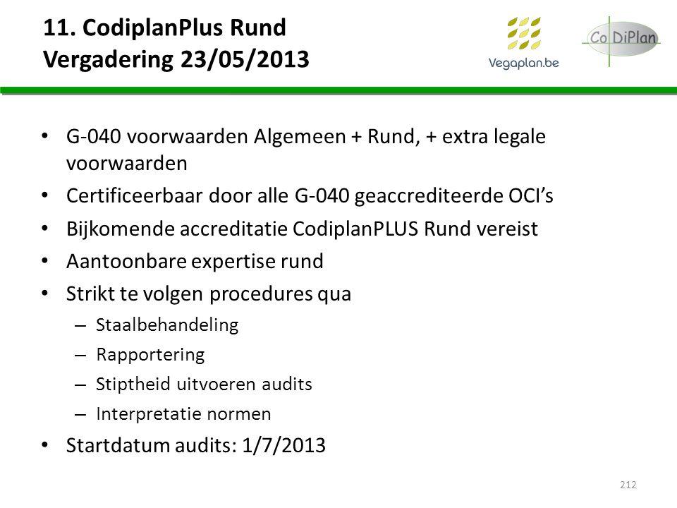 11. CodiplanPlus Rund Vergadering 23/05/2013 G-040 voorwaarden Algemeen + Rund, + extra legale voorwaarden Certificeerbaar door alle G-040 geaccredite