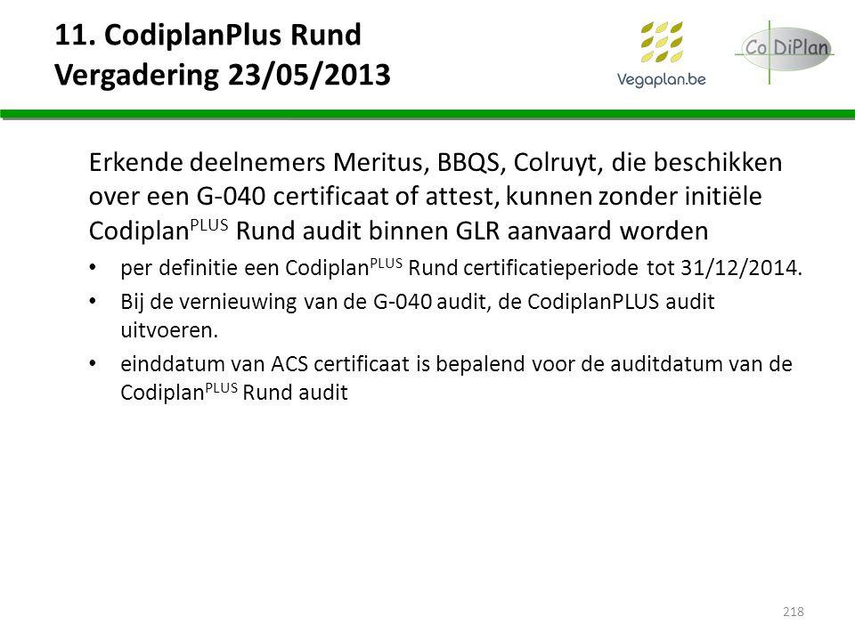11. CodiplanPlus Rund Vergadering 23/05/2013 Erkende deelnemers Meritus, BBQS, Colruyt, die beschikken over een G-040 certificaat of attest, kunnen zo