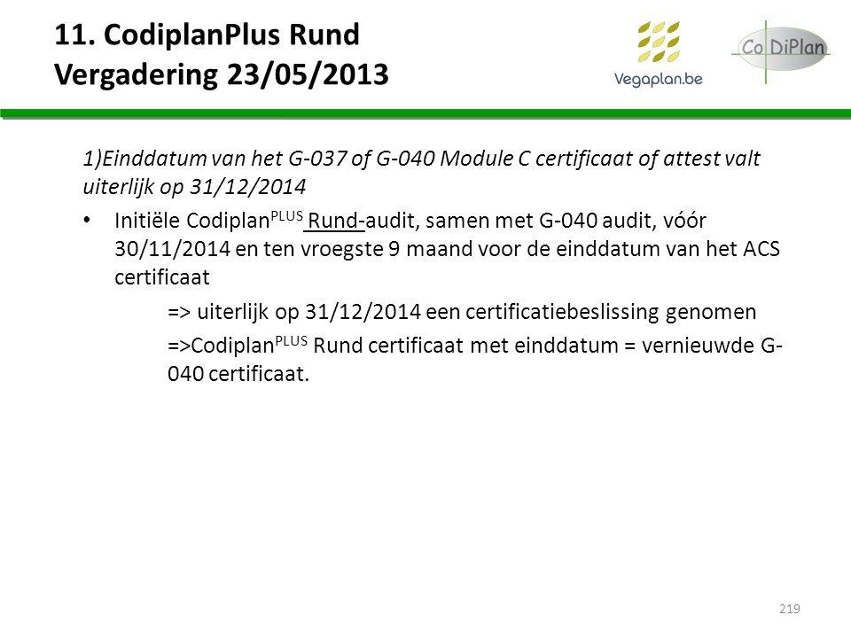 11. CodiplanPlus Rund Vergadering 23/05/2013 1)Einddatum van het G-037 of G-040 Module C certificaat of attest valt uiterlijk op 31/12/2014 Initiële C