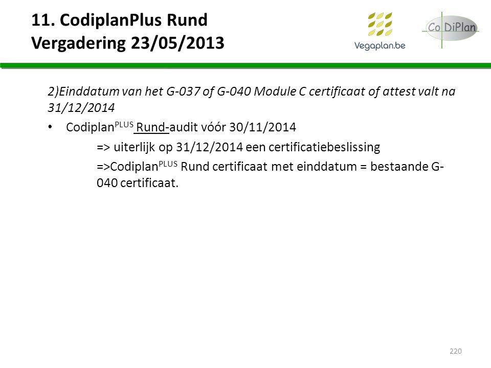 11. CodiplanPlus Rund Vergadering 23/05/2013 2)Einddatum van het G-037 of G-040 Module C certificaat of attest valt na 31/12/2014 Codiplan PLUS Rund-a