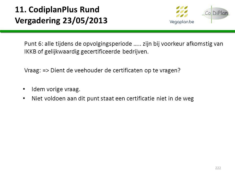 11. CodiplanPlus Rund Vergadering 23/05/2013 Punt 6: alle tijdens de opvolgingsperiode ….. zijn bij voorkeur afkomstig van IKKB of gelijkwaardig gecer