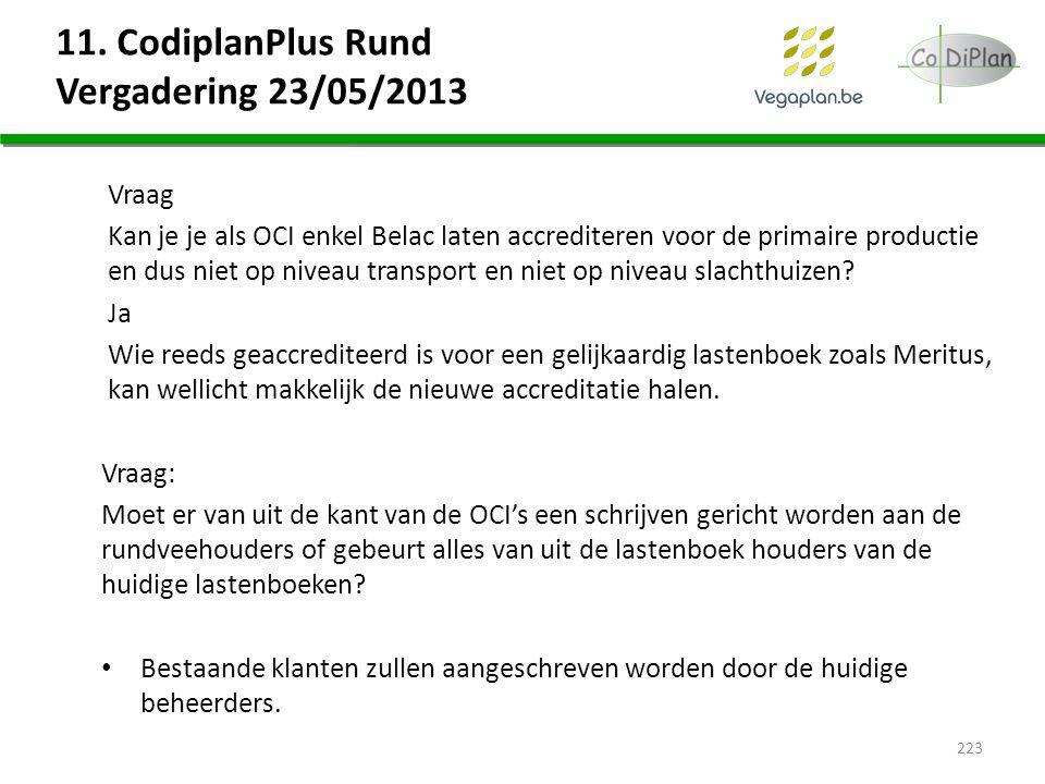 11. CodiplanPlus Rund Vergadering 23/05/2013 Vraag Kan je je als OCI enkel Belac laten accrediteren voor de primaire productie en dus niet op niveau t