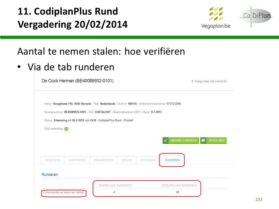 11. CodiplanPlus Rund Vergadering 20/02/2014 Aantal te nemen stalen: hoe verifiëren Via de tab runderen 233