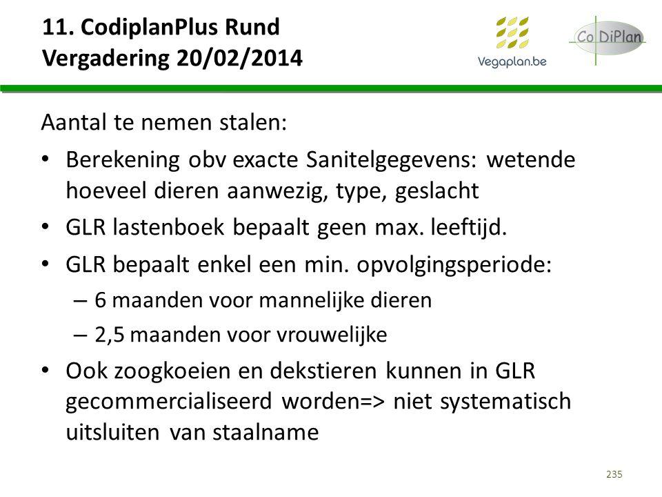 11. CodiplanPlus Rund Vergadering 20/02/2014 Aantal te nemen stalen: Berekening obv exacte Sanitelgegevens: wetende hoeveel dieren aanwezig, type, ges