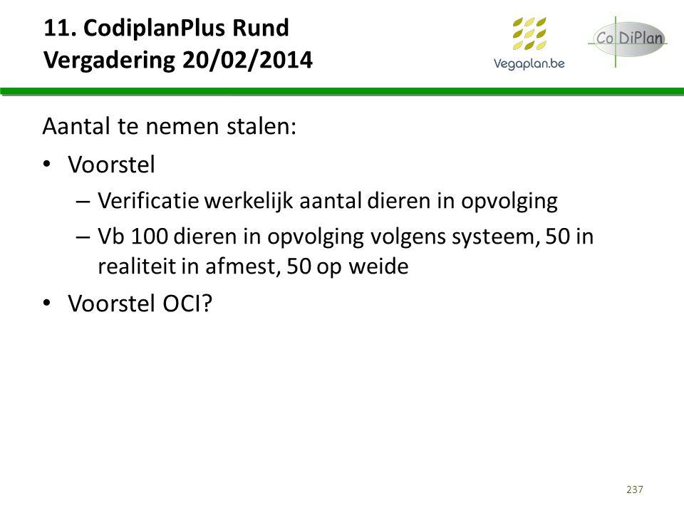 11. CodiplanPlus Rund Vergadering 20/02/2014 Aantal te nemen stalen: Voorstel – Verificatie werkelijk aantal dieren in opvolging – Vb 100 dieren in op