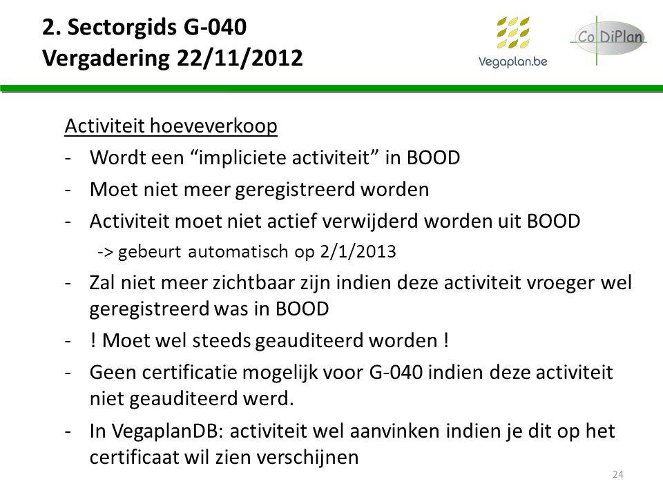 """2. Sectorgids G-040 Vergadering 22/11/2012 Activiteit hoeveverkoop -Wordt een """"impliciete activiteit"""" in BOOD -Moet niet meer geregistreerd worden -Ac"""