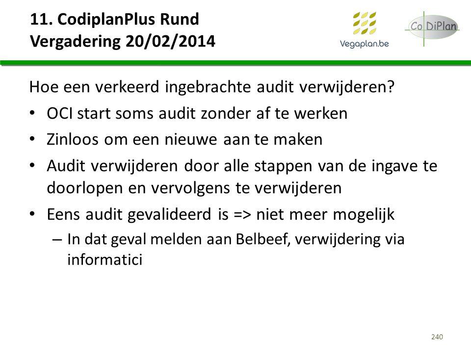 11. CodiplanPlus Rund Vergadering 20/02/2014 Hoe een verkeerd ingebrachte audit verwijderen? OCI start soms audit zonder af te werken Zinloos om een n