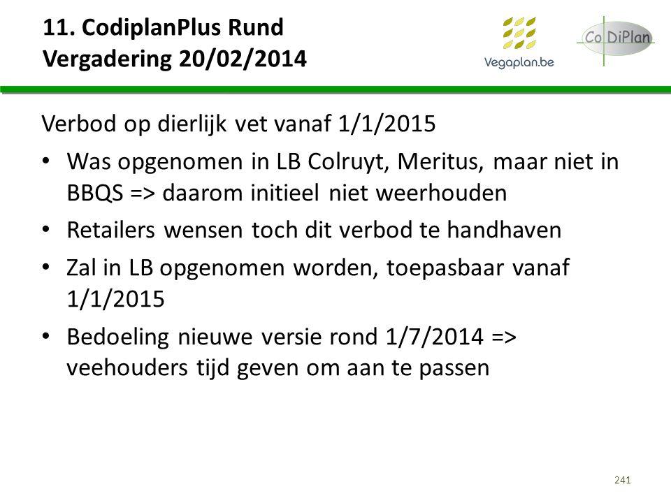 11. CodiplanPlus Rund Vergadering 20/02/2014 Verbod op dierlijk vet vanaf 1/1/2015 Was opgenomen in LB Colruyt, Meritus, maar niet in BBQS => daarom i