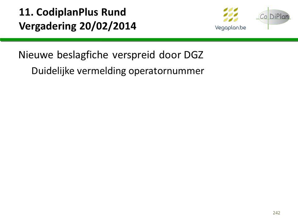 11. CodiplanPlus Rund Vergadering 20/02/2014 Nieuwe beslagfiche verspreid door DGZ Duidelijke vermelding operatornummer 242