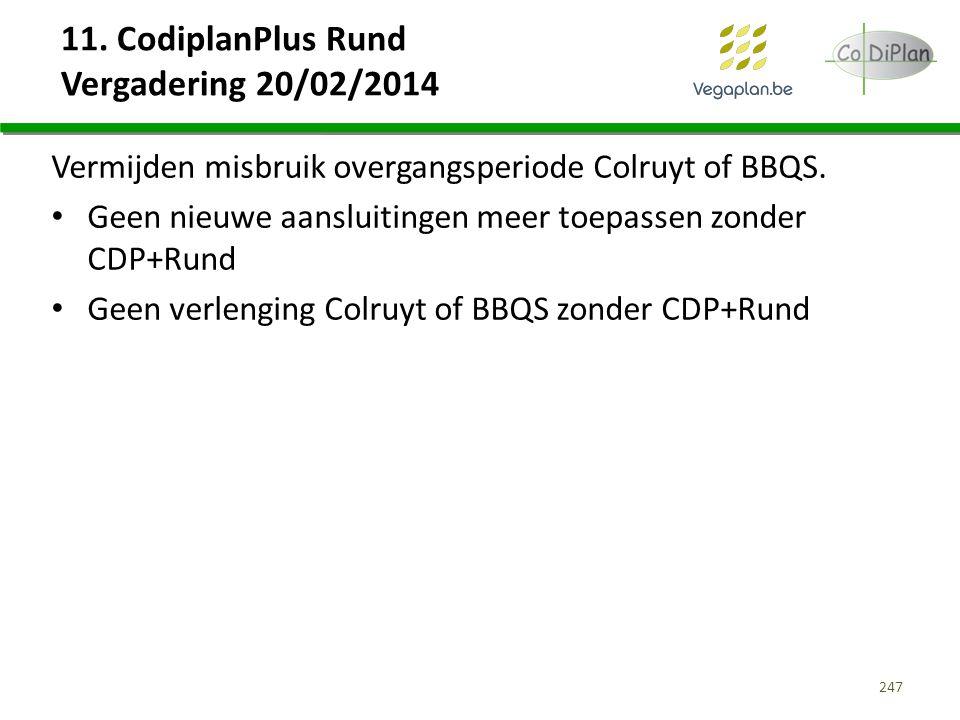 11. CodiplanPlus Rund Vergadering 20/02/2014 Vermijden misbruik overgangsperiode Colruyt of BBQS. Geen nieuwe aansluitingen meer toepassen zonder CDP+