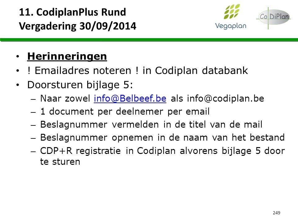 11. CodiplanPlus Rund Vergadering 30/09/2014 249 Herinneringen ! Emailadres noteren ! in Codiplan databank Doorsturen bijlage 5: – Naar zowel info@Bel