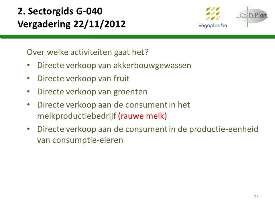 2. Sectorgids G-040 Vergadering 22/11/2012 Over welke activiteiten gaat het? Directe verkoop van akkerbouwgewassen Directe verkoop van fruit Directe v