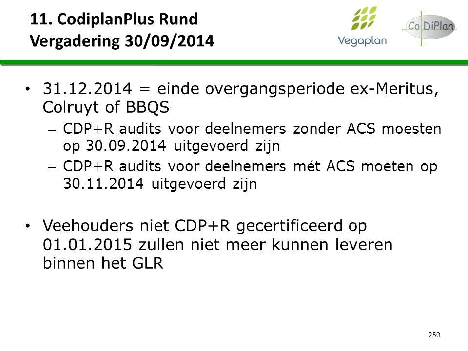 11. CodiplanPlus Rund Vergadering 30/09/2014 250 31.12.2014 = einde overgangsperiode ex-Meritus, Colruyt of BBQS – CDP+R audits voor deelnemers zonder