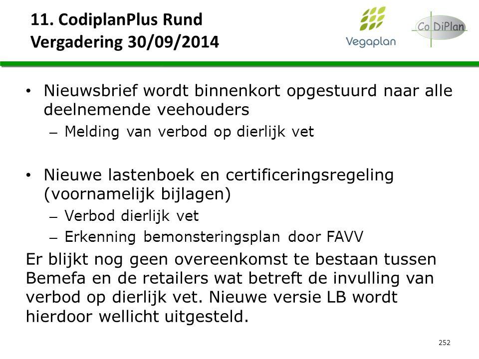11. CodiplanPlus Rund Vergadering 30/09/2014 252 Nieuwsbrief wordt binnenkort opgestuurd naar alle deelnemende veehouders – Melding van verbod op dier