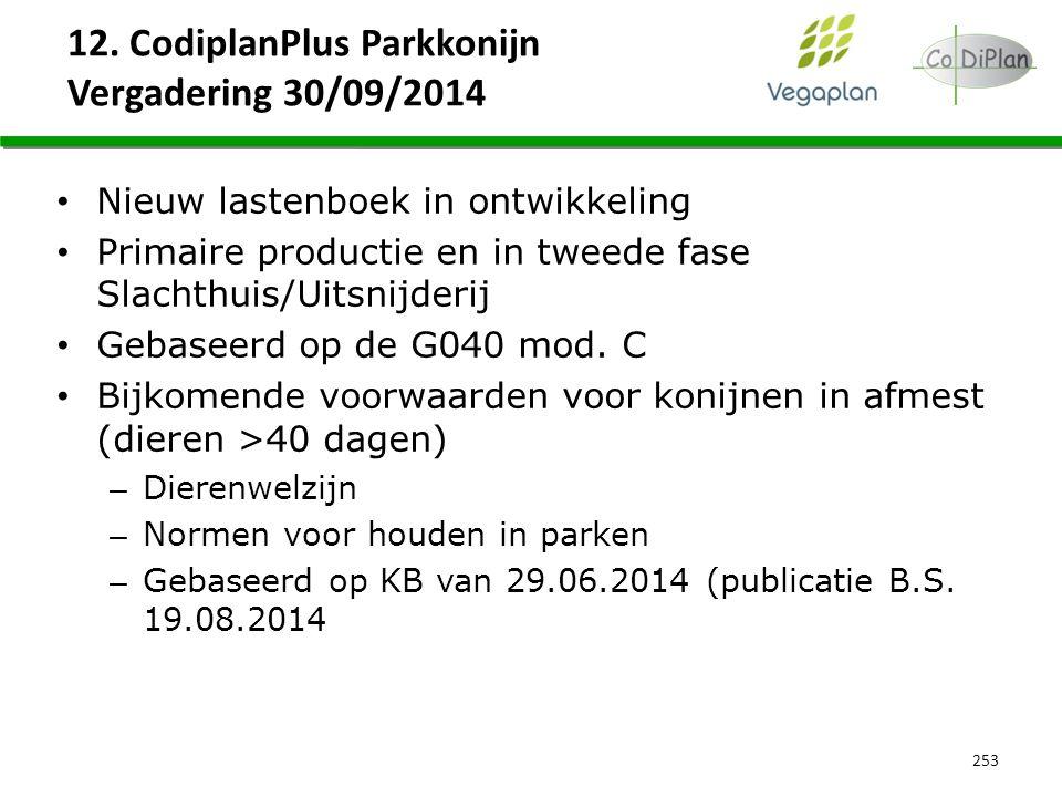 12. CodiplanPlus Parkkonijn Vergadering 30/09/2014 253 Nieuw lastenboek in ontwikkeling Primaire productie en in tweede fase Slachthuis/Uitsnijderij G