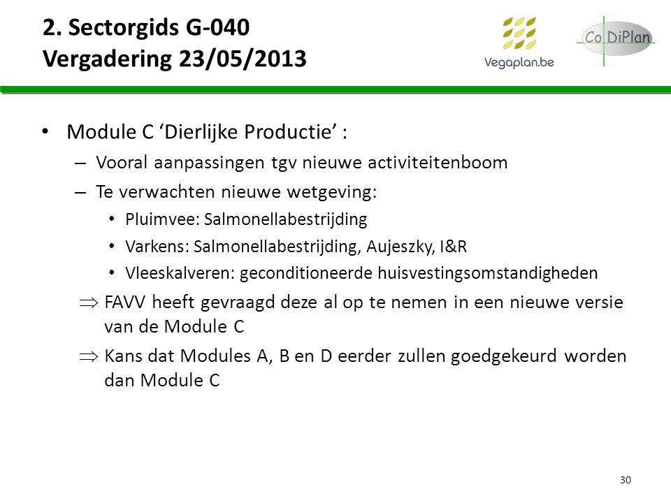 2. Sectorgids G-040 Vergadering 23/05/2013 Module C 'Dierlijke Productie' : – Vooral aanpassingen tgv nieuwe activiteitenboom – Te verwachten nieuwe w