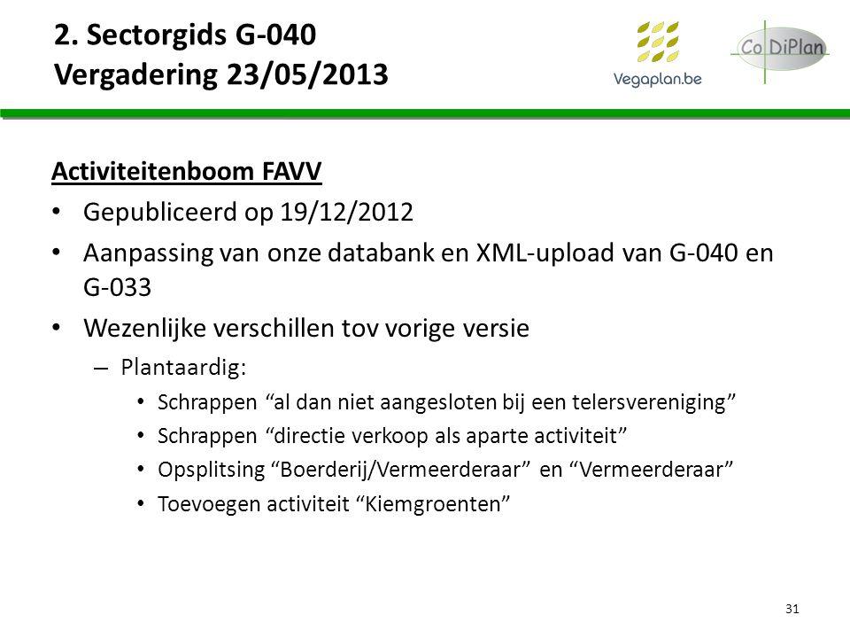 2. Sectorgids G-040 Vergadering 23/05/2013 Activiteitenboom FAVV Gepubliceerd op 19/12/2012 Aanpassing van onze databank en XML-upload van G-040 en G-