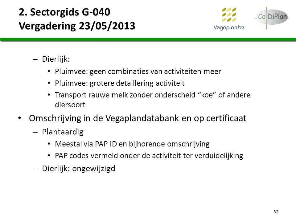 2. Sectorgids G-040 Vergadering 23/05/2013 – Dierlijk: Pluimvee: geen combinaties van activiteiten meer Pluimvee: grotere detaillering activiteit Tran