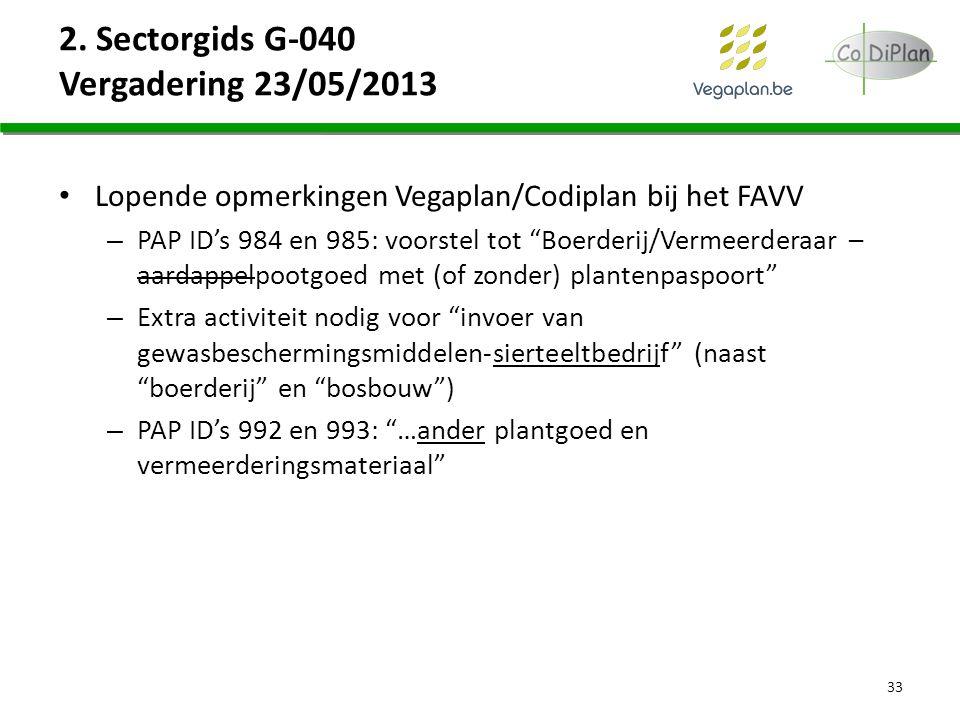 """2. Sectorgids G-040 Vergadering 23/05/2013 Lopende opmerkingen Vegaplan/Codiplan bij het FAVV – PAP ID's 984 en 985: voorstel tot """"Boerderij/Vermeerde"""