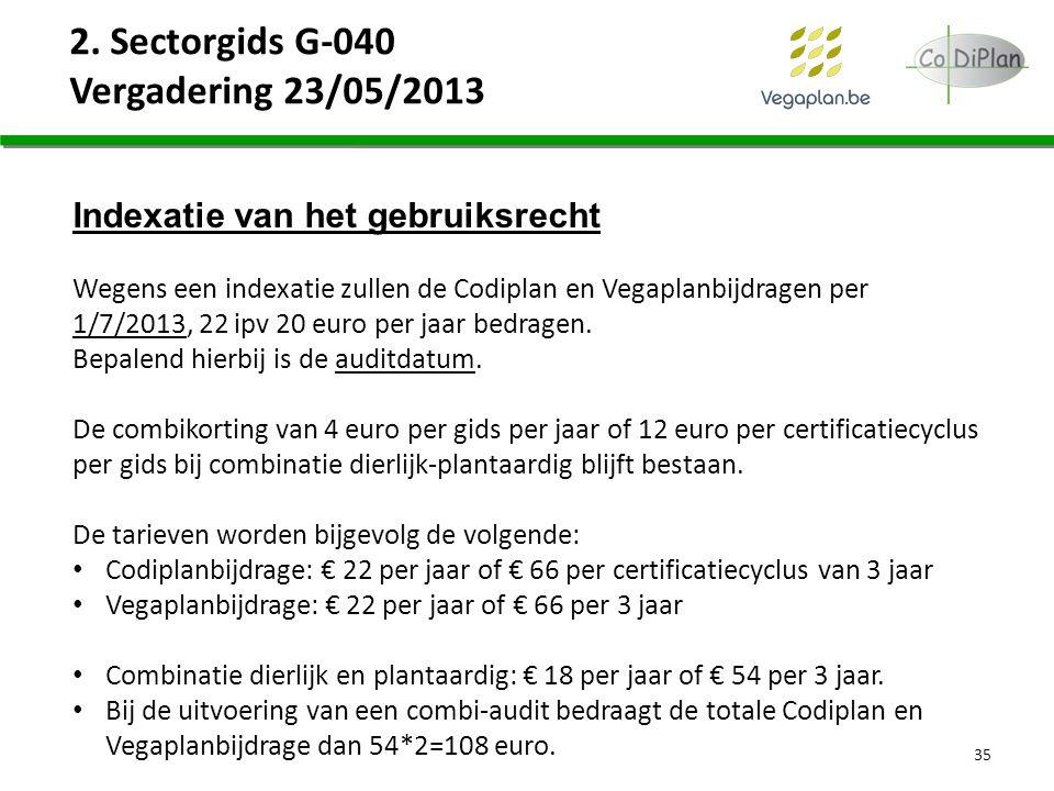2. Sectorgids G-040 Vergadering 23/05/2013 35 Indexatie van het gebruiksrecht Wegens een indexatie zullen de Codiplan en Vegaplanbijdragen per 1/7/201
