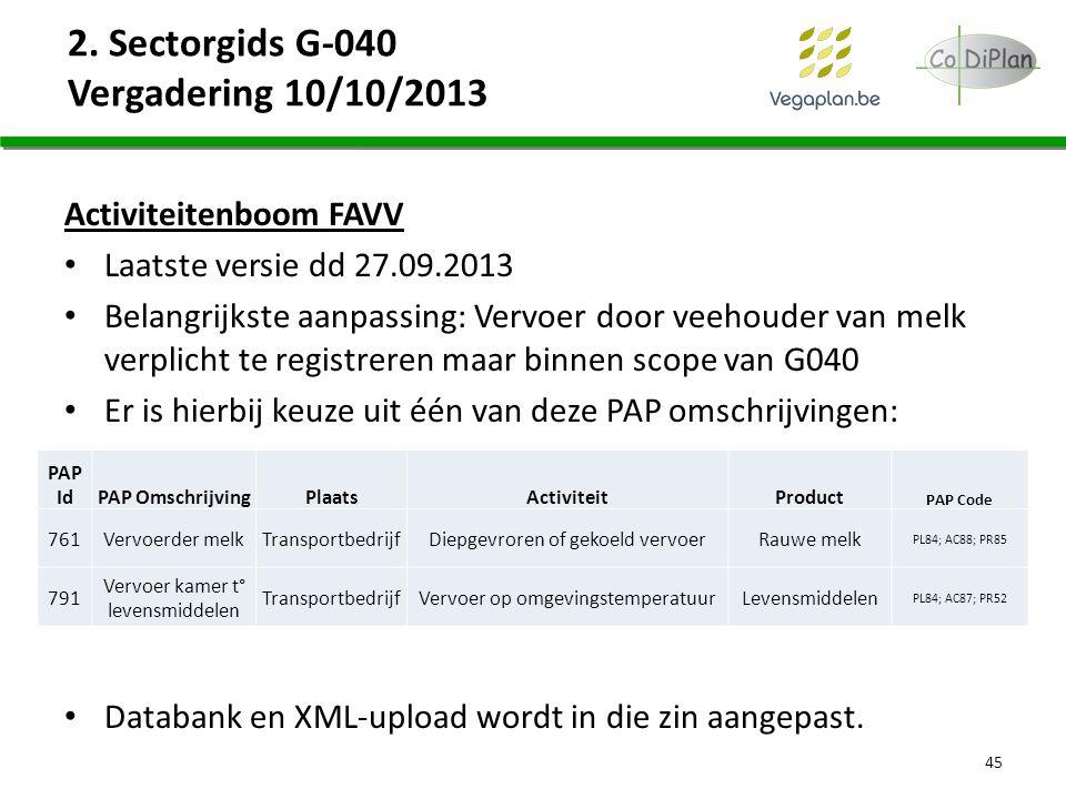 2. Sectorgids G-040 Vergadering 10/10/2013 Activiteitenboom FAVV Laatste versie dd 27.09.2013 Belangrijkste aanpassing: Vervoer door veehouder van mel