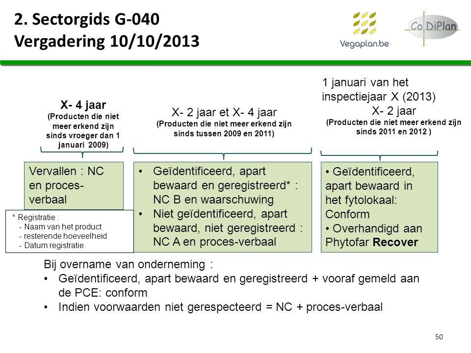 2. Sectorgids G-040 Vergadering 10/10/2013 50 1 januari van het inspectiejaar X (2013) X- 2 jaar (Producten die niet meer erkend zijn sinds 2011 en 20
