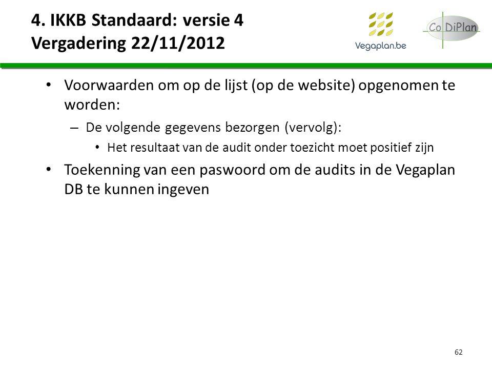Voorwaarden om op de lijst (op de website) opgenomen te worden: – De volgende gegevens bezorgen (vervolg): Het resultaat van de audit onder toezicht m