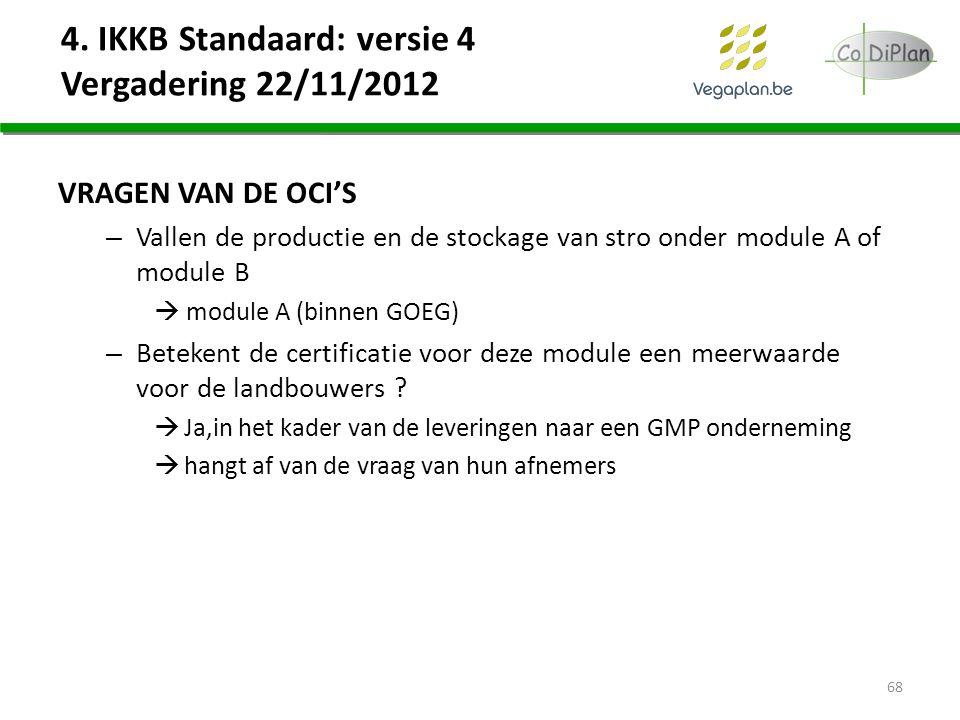 VRAGEN VAN DE OCI'S – Vallen de productie en de stockage van stro onder module A of module B  module A (binnen GOEG) – Betekent de certificatie voor