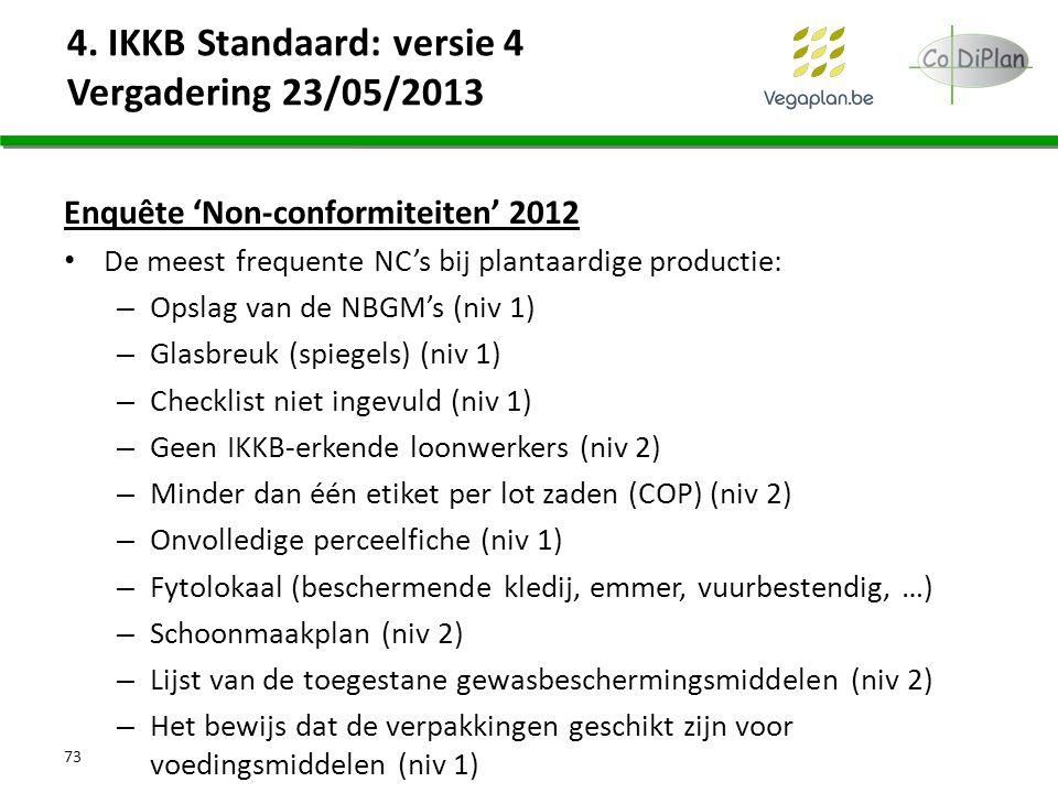 Enquête 'Non-conformiteiten' 2012 De meest frequente NC's bij plantaardige productie: – Opslag van de NBGM's (niv 1) – Glasbreuk (spiegels) (niv 1) –