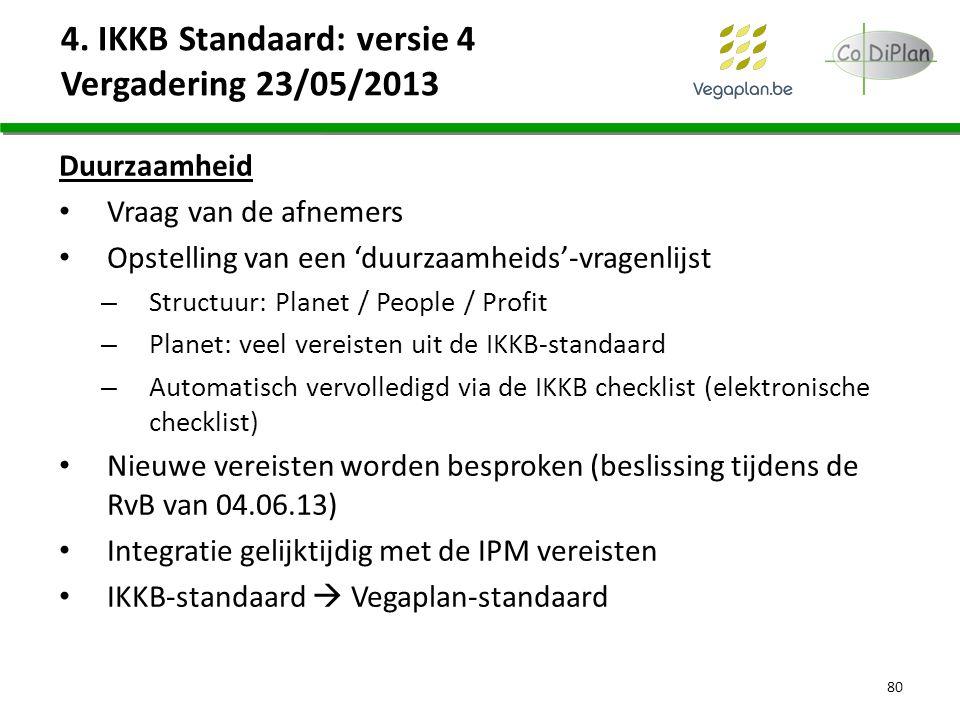 4. IKKB Standaard: versie 4 Vergadering 23/05/2013 Duurzaamheid Vraag van de afnemers Opstelling van een 'duurzaamheids'-vragenlijst – Structuur: Plan