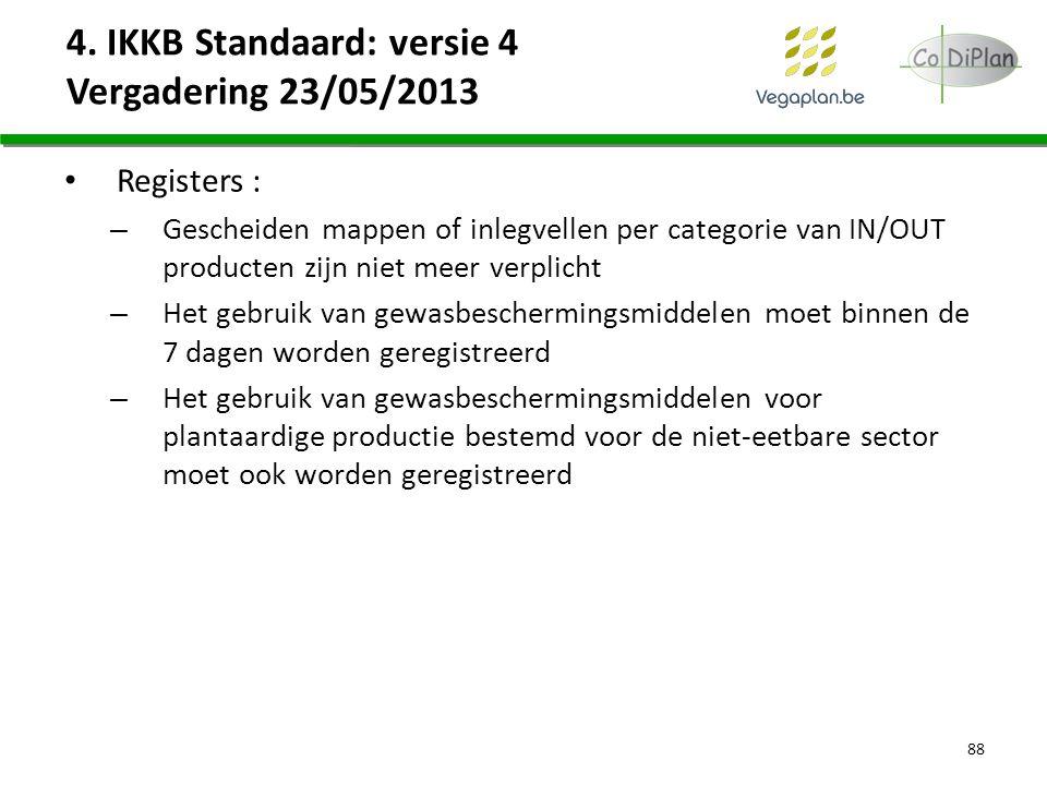 4. IKKB Standaard: versie 4 Vergadering 23/05/2013 Registers : – Gescheiden mappen of inlegvellen per categorie van IN/OUT producten zijn niet meer ve