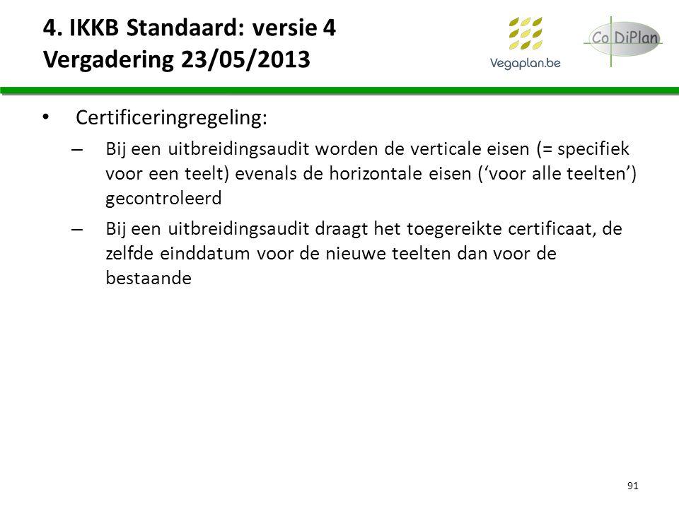 4. IKKB Standaard: versie 4 Vergadering 23/05/2013 Certificeringregeling: – Bij een uitbreidingsaudit worden de verticale eisen (= specifiek voor een