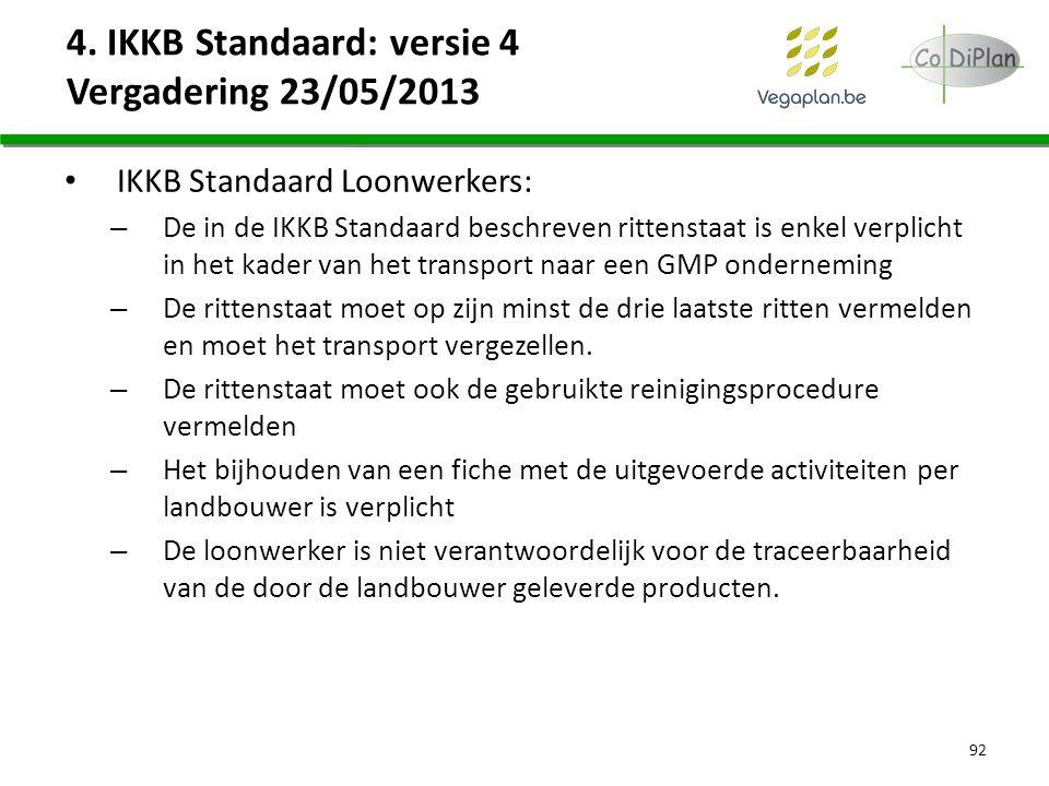 4. IKKB Standaard: versie 4 Vergadering 23/05/2013 IKKB Standaard Loonwerkers: – De in de IKKB Standaard beschreven rittenstaat is enkel verplicht in