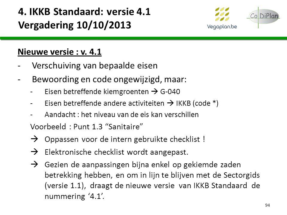 4. IKKB Standaard: versie 4.1 Vergadering 10/10/2013 Nieuwe versie : v. 4.1 -Verschuiving van bepaalde eisen -Bewoording en code ongewijzigd, maar: -E