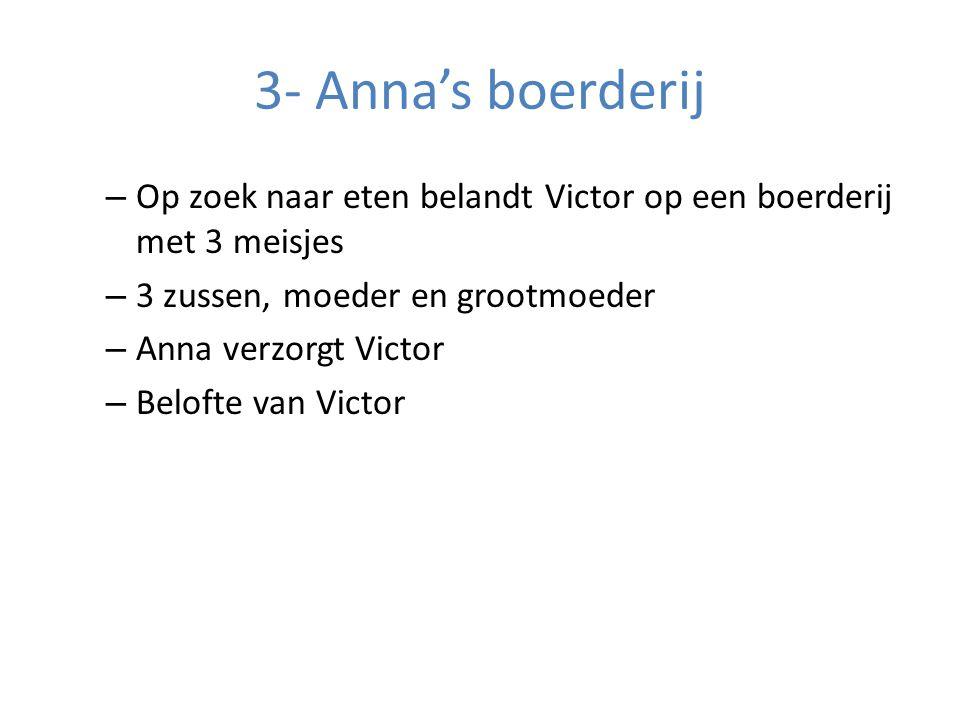 3- Anna's boerderij – Op zoek naar eten belandt Victor op een boerderij met 3 meisjes – 3 zussen, moeder en grootmoeder – Anna verzorgt Victor – Belofte van Victor