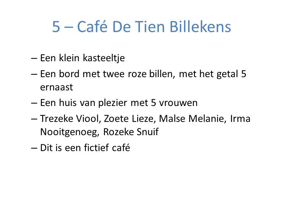 5 – Café De Tien Billekens – Een klein kasteeltje – Een bord met twee roze billen, met het getal 5 ernaast – Een huis van plezier met 5 vrouwen – Trezeke Viool, Zoete Lieze, Malse Melanie, Irma Nooitgenoeg, Rozeke Snuif – Dit is een fictief café