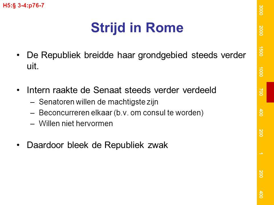 Strijd in Rome De Republiek breidde haar grondgebied steeds verder uit. Intern raakte de Senaat steeds verder verdeeld –Senatoren willen de machtigste
