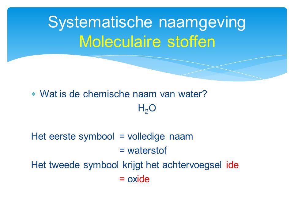  Wat is de chemische naam van water? H 2 O Het eerste symbool= volledige naam = waterstof Het tweede symbool krijgt het achtervoegsel ide = oxide Sys